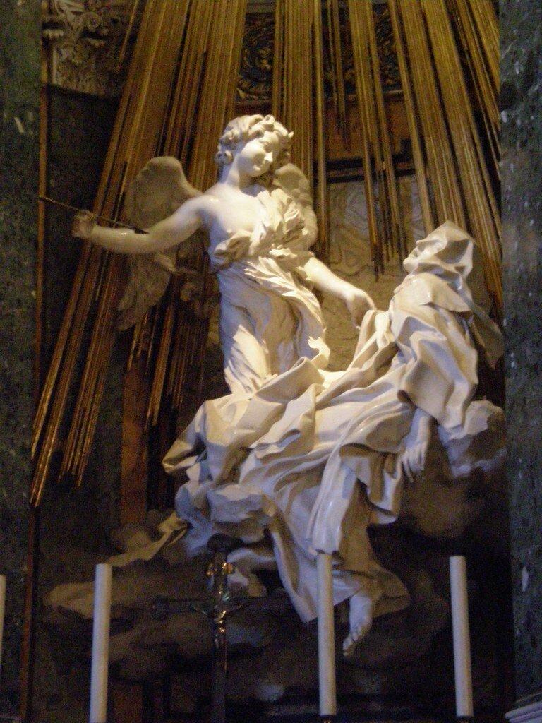 The Ecstasy of St. Teresa of Avila, by Giovanni Lorenzo Bernini, 1652, in the Church of Santa Maria della Vittoria, Rome, Italy. Credit: Flickr / Scazon.
